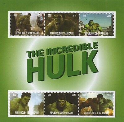 Incredible Hulk Comic Movie Republique Centrafricaine 2016 Mnh Stamp Sheetlet