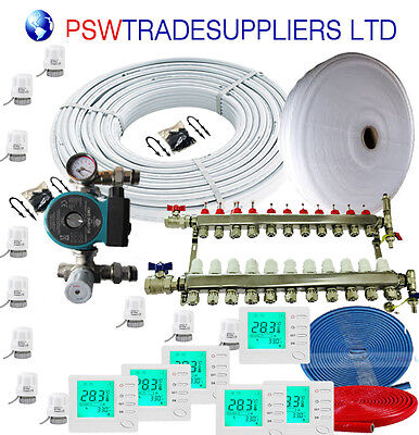 UnderFloor Heating Kit  Water 180- 185 m2 (inc SOLAR pump OMIS )+ LCD Thermostat