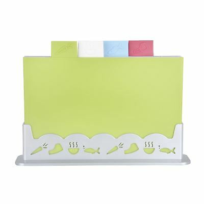Set of 4 Plastic Colour Coded Chopping Boards Presentation Holder Stand W30cm