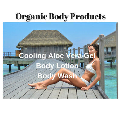 Organic Natural Body Wash, Cooling Aloe Vera Gel, Body Lotion FREE P&P