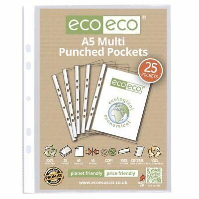 A5 Clear Punched Pockets Strong Poly Plastic Sleeve File Wallets Ecoeco Recycled