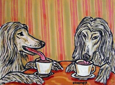 afghan hound at the Coffee shop cafe artwork signed art print 8.5x11 glossy