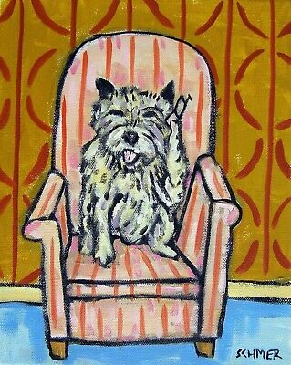 Cairn Terrier talking on a Cell phone 8x10 signed dog art artwork print