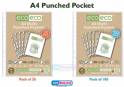 A4 Clear Punched Pockets Strong Poly Plastic Sleeve File Wallets Ecoeco Recycled