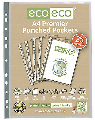A4 Premier Clear Punched Pockets Strong Poly Plastic Sleeve File Wallets Ecoeco