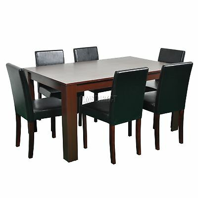 FoxHunter Wooden Dining Table and 6 PU Faux Leather Chairs Set Furniture Walnut