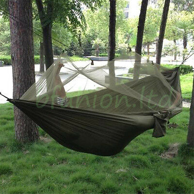 Parachute Fabric Hammock Hanging Bed With Mosquito Net For Outdoor Camping New