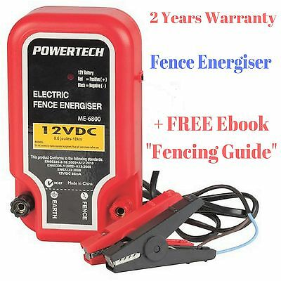 Electric Fence Energiser - 10km Powertech Wire Power With FREE Fencing Guide