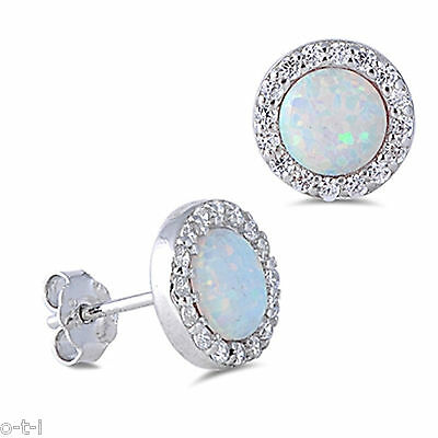 White Fire Opal Clear Cubic Zirconia Halo Sterling Silver Stud Earrings
