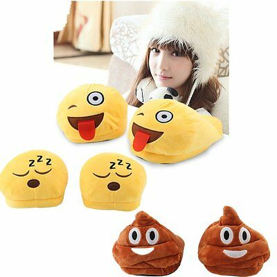 Men Women Cartoon Emoji Expression Plush Soft Slippers Home Warm Shoes Unisex M2