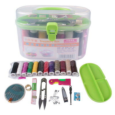 Threader Needle Thread Tape Measure Scissor Thimble Storage Box Sewing Kits NEW