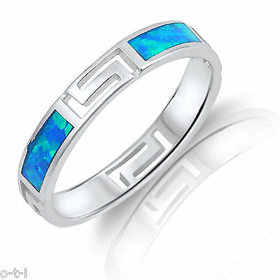 Blue Fire Opal Sterling Silver Celtic Band Ring