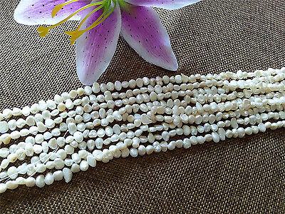 Small 4-6mm Natural beige Freshwater Pearl irregular BAROQUE Loose Beads 14""