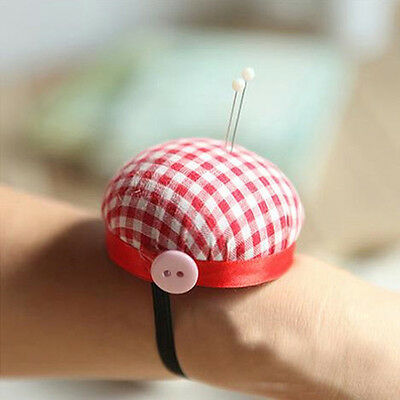 Red Grids Needle Sewing Pin Cushion Wrist Strap Tool Button Storage Holder
