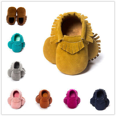 Toddler Infant Suede Moccasin Soft Sole Shoes Girls Boys Baby Tassel Crib Shoes