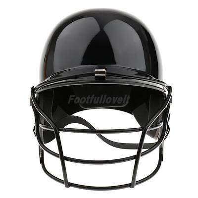 Baseball Softball Batting Helmet with Face Guard and Chin Strap - Black