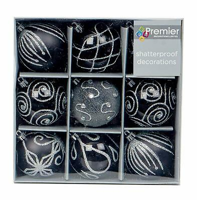 Christmas Tree Decoration 9 Pack 60mm Shatterproof Baubles - Black