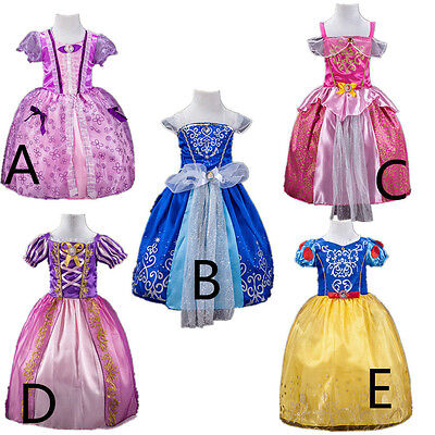 Kid Girls Princess Snow White Aurora Elsa Queen Cosplay Costume Fancy Dress Up