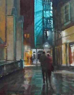 "ORIGINAL MICHAEL RICHARDSON ""At Night, Beside the Abbey, Bath"" Somerset PAINTING"