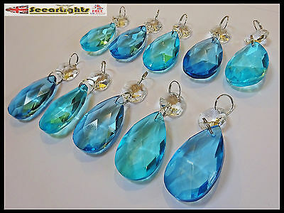 10 Chandelier Drops Cut Glass Crystals Oval Vintage Teal Turquoise Sun Beads V11