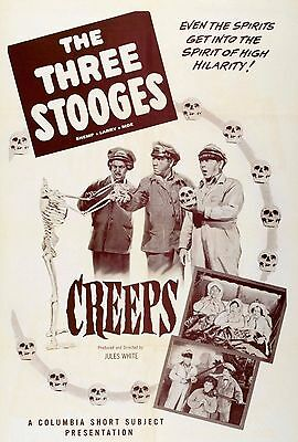 """""""CREEPS"""" The 3 Stooges Vintage 1956  Movie Poster A1A2A3A4Sizes"""