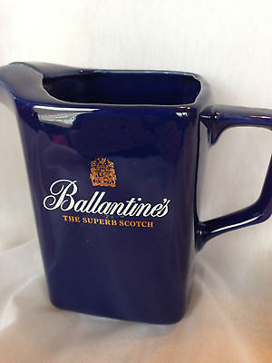 Cobalt blue Balantine's Scotch Ceramic Jug Advertising Collectible Gold Letters