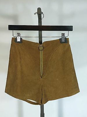 Vintage 1970's 70s Tawny brown micro suede hot pants shorts with metal ring zipp