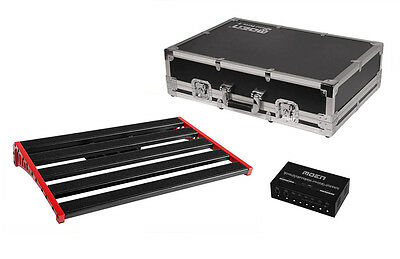 MOEN Guitar Effects Pedal Board + Flight Case + Power Supply - Fits 8-10 pedals