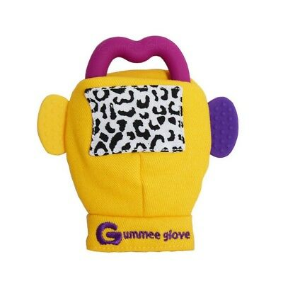 Gummee Glove Yellow .Detachable silicone teething ring that  can be sterilised.