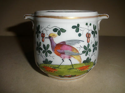 Antique 1800`s Old Paris porcelain jar hand painted birds flowers arrangement ?