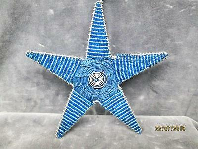 Beautiful Blue Beaded Wired Christmas Star Ornament