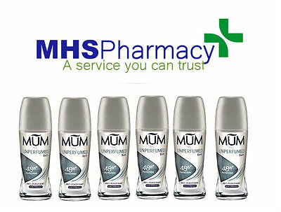 6x Mum Anti Perspirant Roll On Unperfumed Soft Deodorant 50ml Alcohol Free