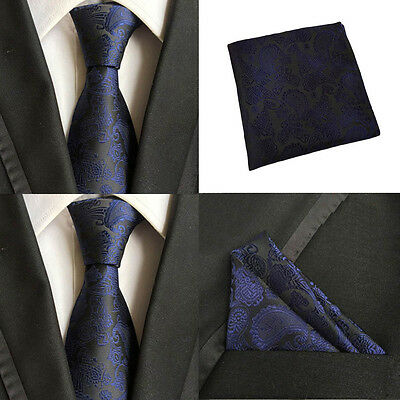 Men Black Blue Paisley Necktie Pocket Square Handkerchief Hanky Set Lot HZBWT067