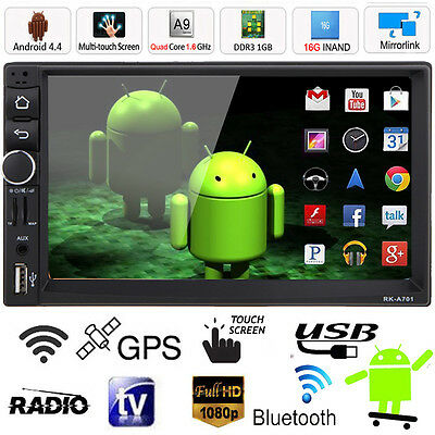 "Android 4.4 Double 2DIN 7"" Car Stereo MP3 MP5 Player GPS Navi Bluetooth FM Radio"