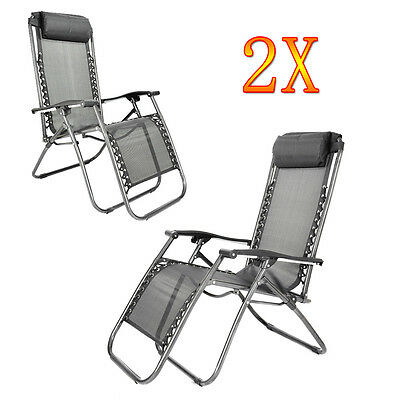 2 X Folding Gravity Sun Lounger Black Chair Recliner Garden Reclining Headrest