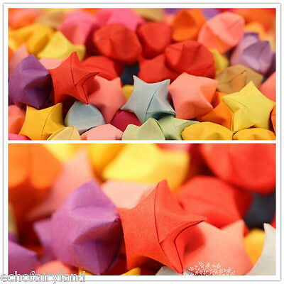 100pcs/pack Finished Candy Color Origami Lucky Stars Folded Paper Craft
