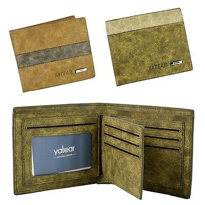 Men's PU Leather Bifold Wallet ID Business Credit Card Holder Yatear Purse