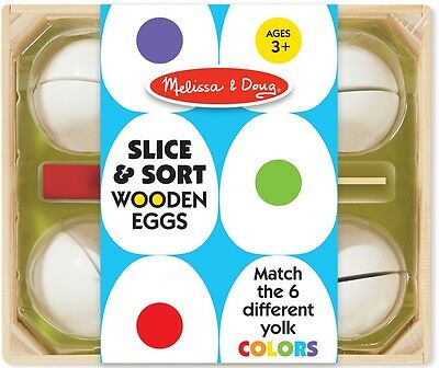 Melissa & Doug SLICE & SORT WOODEN EGGS Pretend Play Velcro Cut Food Kids BN