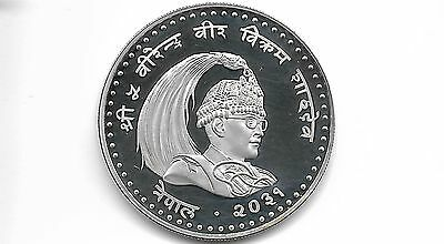 Nepal Vs 2031-1974 100 Rupee Silver Proof Coin