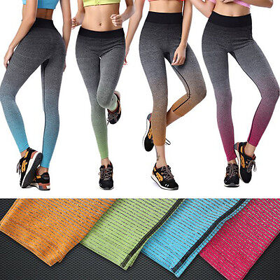 Womens Gradient High Waist Yoga Fitness Leggings Pants Stretchy Cropped Trousers