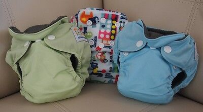 NEW - 3x NEWBORN all in one AIO modern cloth nappy BAMBOO CHARCOAL small MCN