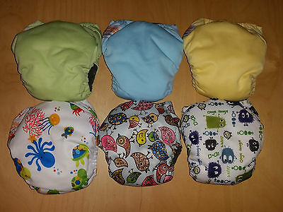 NEW - 6x NEWBORN all in one AIO modern cloth nappy BAMBOO CHARCOAL small MCN