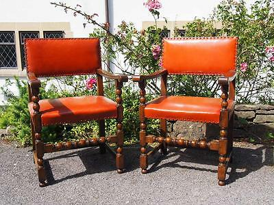 Stunning Pair of Vintage Gothic Style Oak Carver/Armchairs with Studded Leather