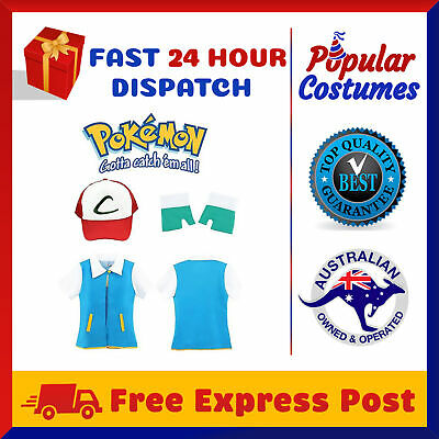 Pokemon Ash Ketchum Pokemon GO Trainer Pokeball Cap Shirt Gloves Full Costume