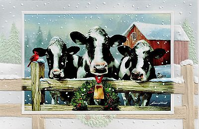 16 Holsteins Cows Boxed Embossed Christmas Cards Holstein Cows Cattle