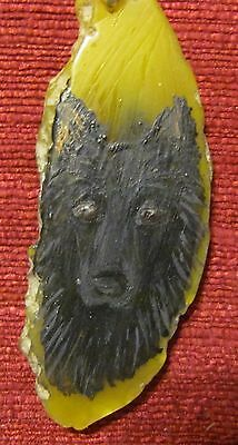 """Belgian Sheepdog hand painted on a 3"""", yellow Agate Slice pendant/bead/necklace"""