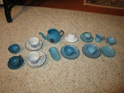 6 Vintage Blue Child's Toy Graniteware Dishes, and 1 Blue/Cream Toy Beater!!!!