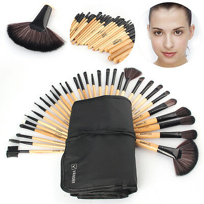 32pc Professional Soft Cosmetic Eyebrow Shadow Make up Brush Set Kit + Pouch Bag