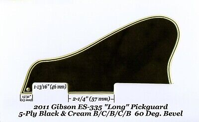 ES-335 LONG 2011 Pickguard 5-Ply Black & Cream 60 Deg for Gibson Guitar Project