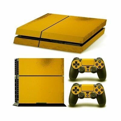 PS4 PlayStation4 Console + 2 Controllers Sticker Gold Vinyl Cover Decal Skin
